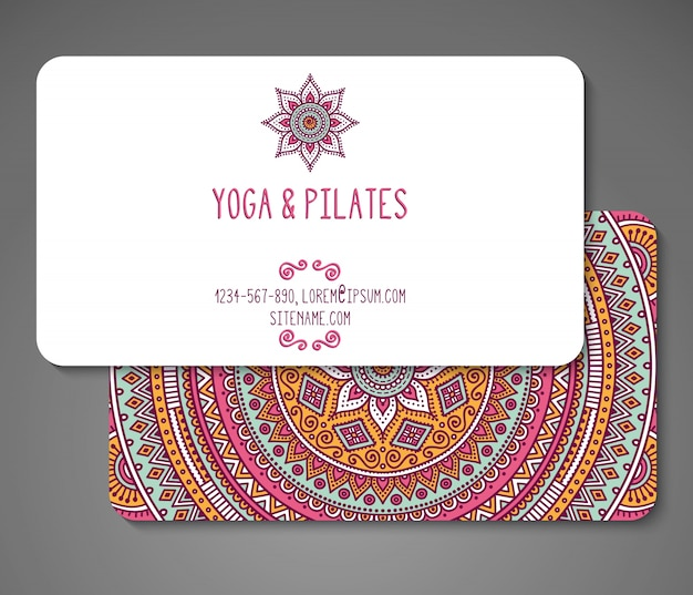 Business card for yoga teacher vector premium download business card for yoga teacher premium vector reheart Images