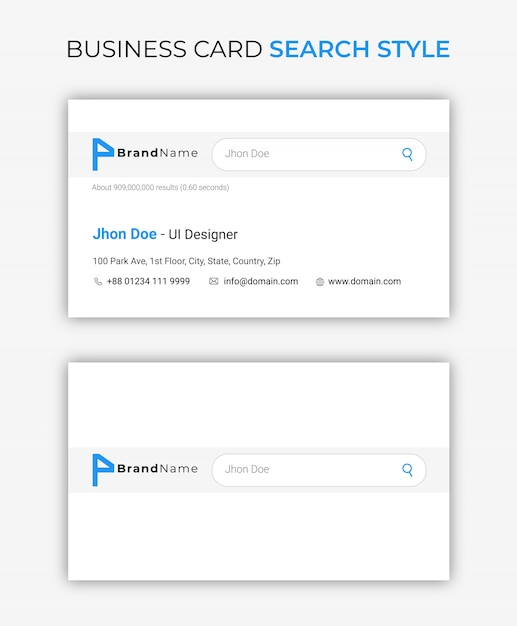 Business card google search style Premium Vector