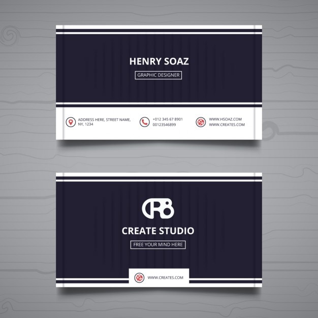 Green Polygonal Business Card: Business Card On A Gray Background