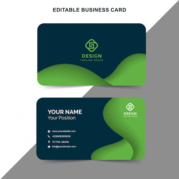 business card green color vector  premium download