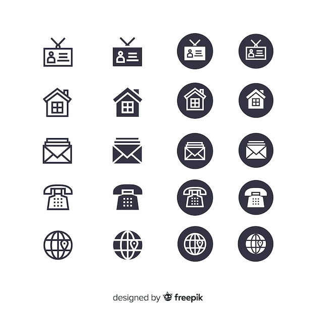 Business card icon collection Premium Vector