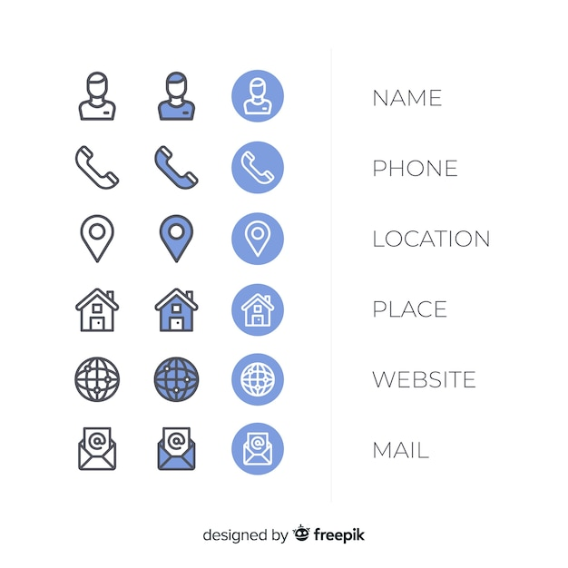Business card icon collection Free Vector