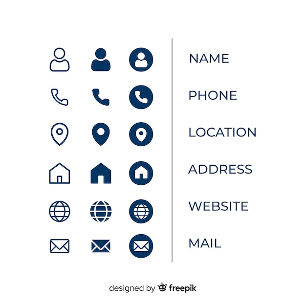 business card icon information collection vector