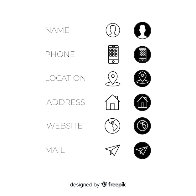 Business card icons set Free Vector