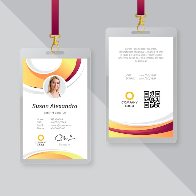 Business card id template design Free Vector
