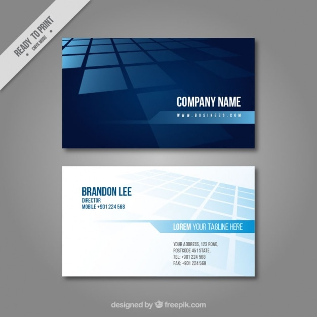 business card in blue tones vector free download