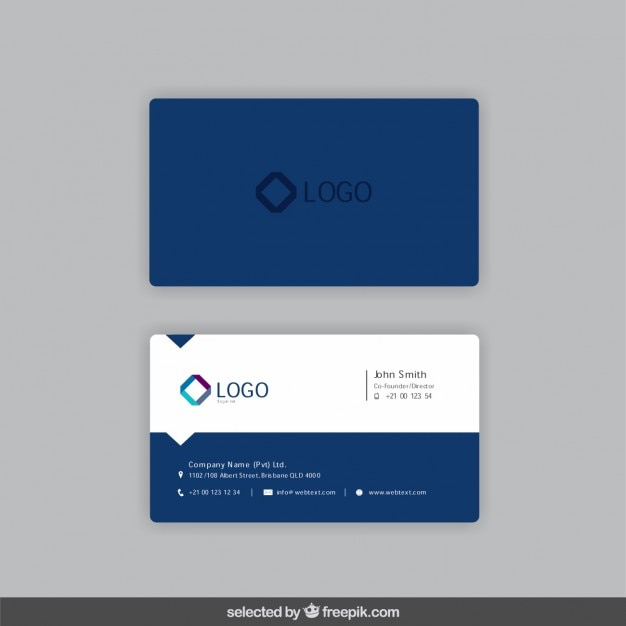 Business card in dark blue color Vector : Free Download