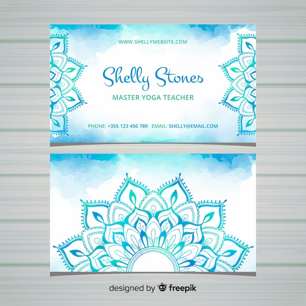 Business card in mandala style Free Vector