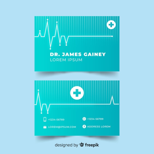 Business card in medical style Free Vector
