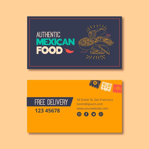 Business cardfor mexican food restaurant Free Vector