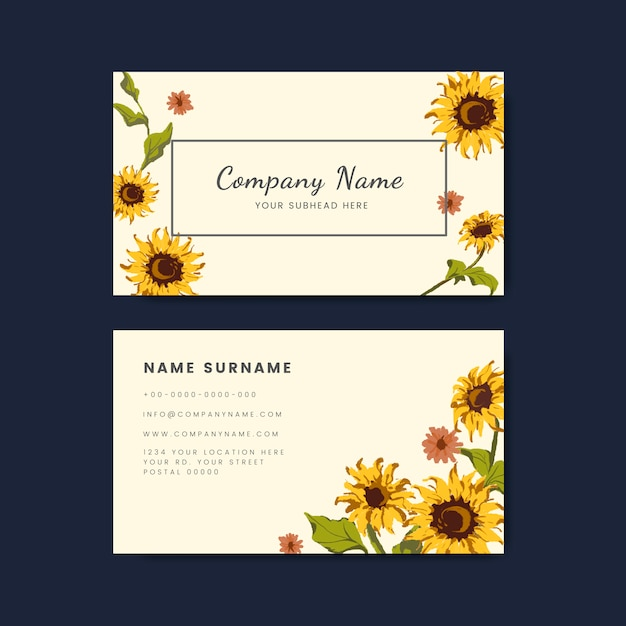 Business card mockups with sunflower design Free Vector