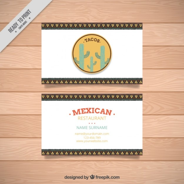 Business card of mexican restaurant vector free download for Mexican restaurant business cards