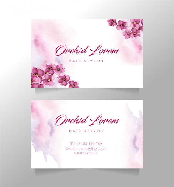 Business card orchid flower template Premium Vector