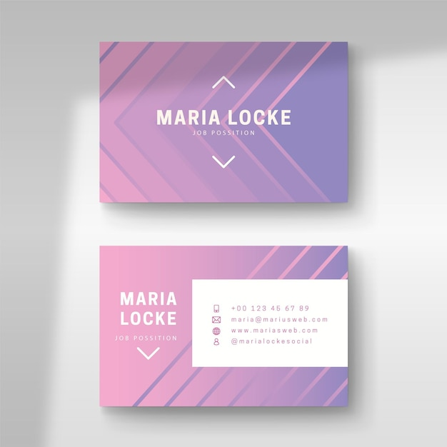 Business card pastel gradient design Free Vector