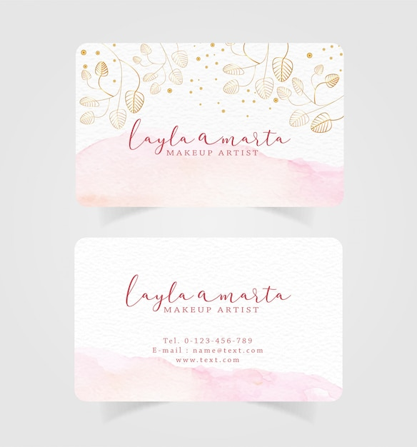 Business card pink splash watercolor and floral background Premium Vector