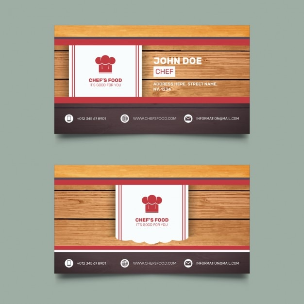 Business card for restaurant with wooden background Free Vector
