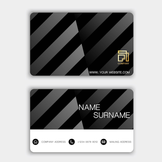 Business card set. Premium Vector