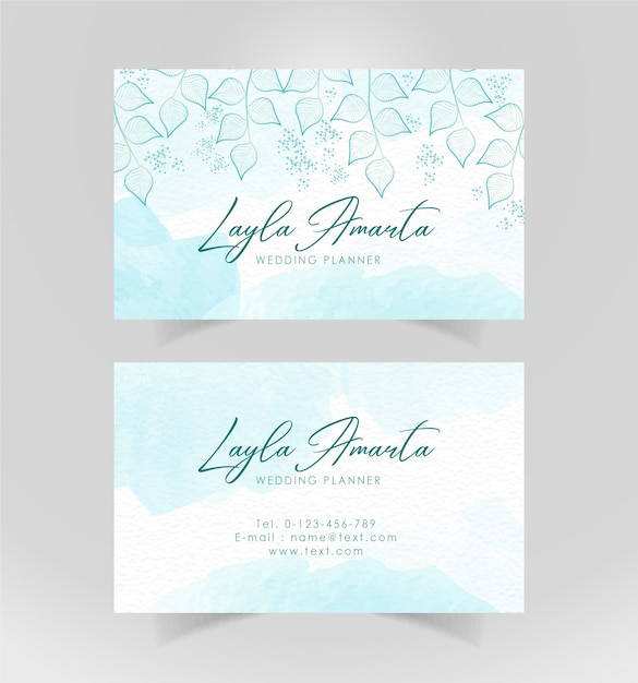 Business card sky blue with floral ornament Premium Vector