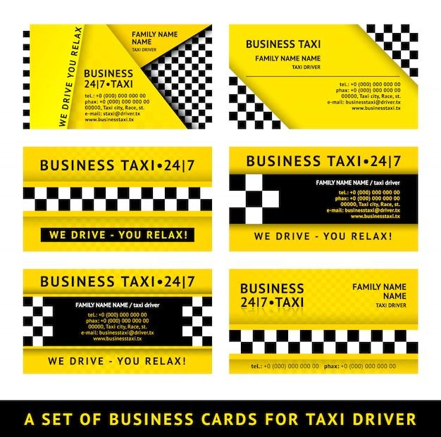 Визитная карточка такси - набор иллюстраций Premium векторы
