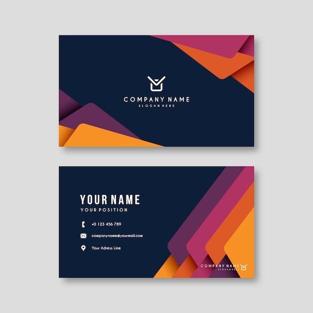 Business card template abstract colorful Free Vector