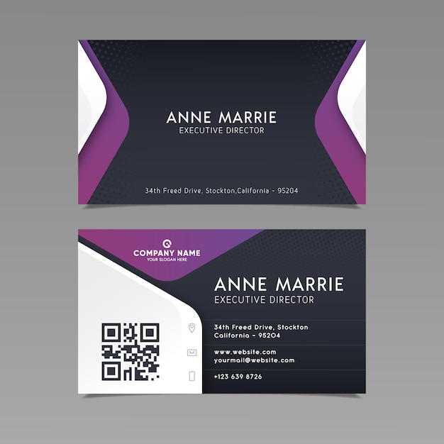 Business card template abstract design Free Vector