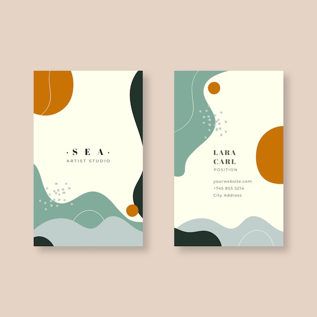 Business card template in abstract painted style Free Vector