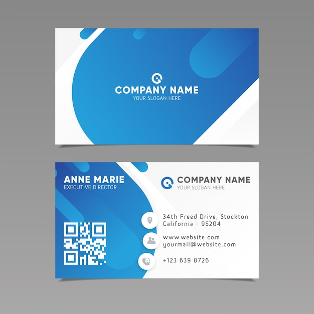 Business card template abstract style Free Vector