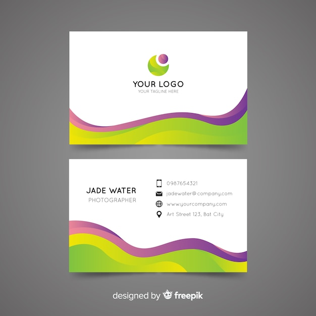 Business card template abstract template Free Vector