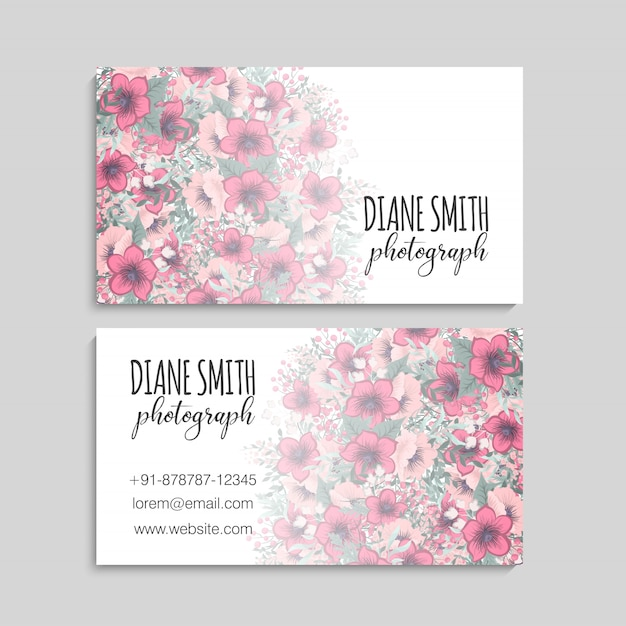 Business card template, background floral pattern Free Vector