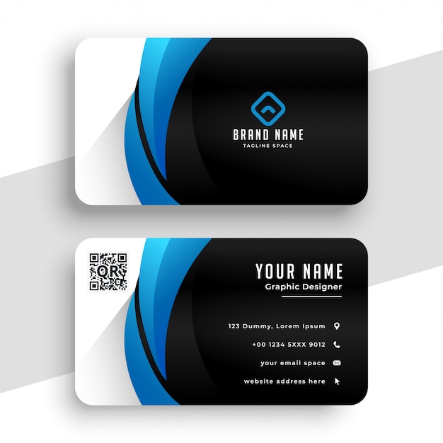 Business card template in blue and black colors Free Vector