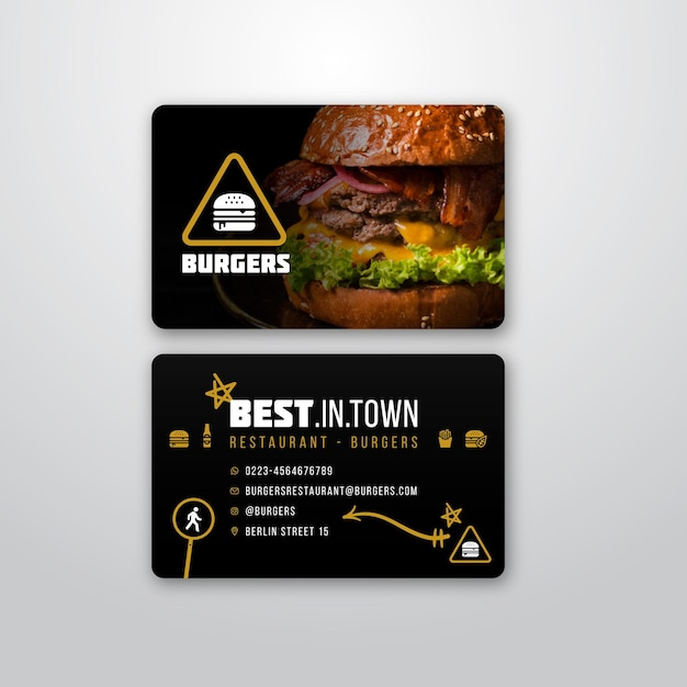 Business card template for burger restaurant Free Vector