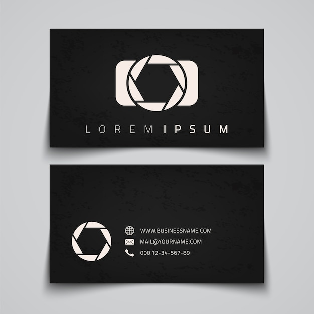 Business card template. camera conceptual logo.  illustration Premium Vector