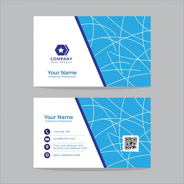 Business card template design modern blue and white vector premium business card template design modern blue and white premium vector wajeb Images