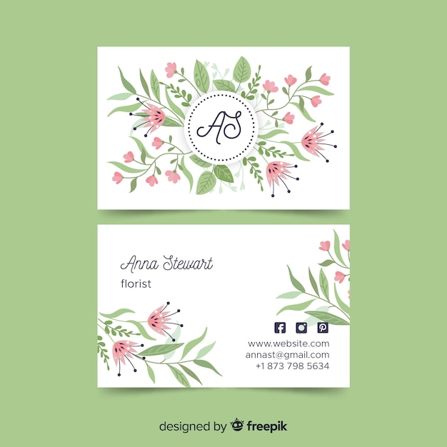 Business card template in elegant style Free Vector