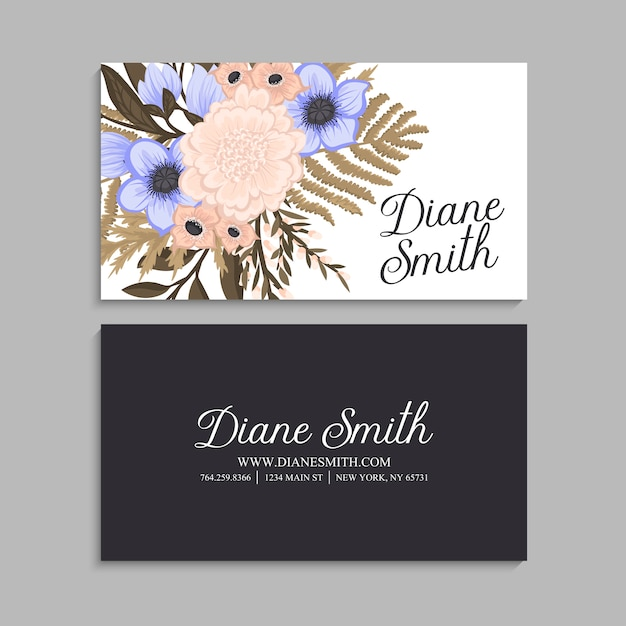 Business card template floral Free Vector