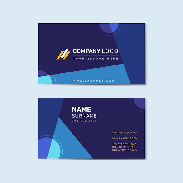 Business card template front and back vector Free Vector