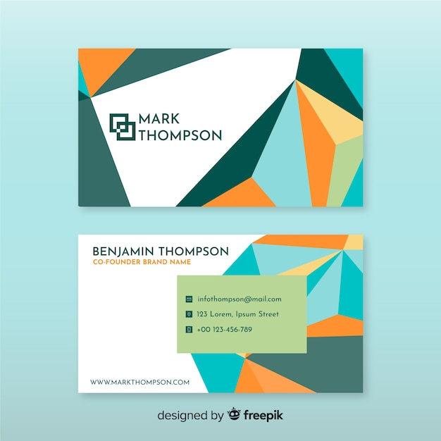 Business card template geometric style Free Vector