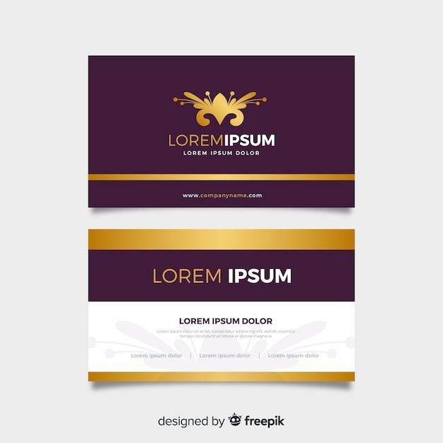 Business card template golden details Free Vector