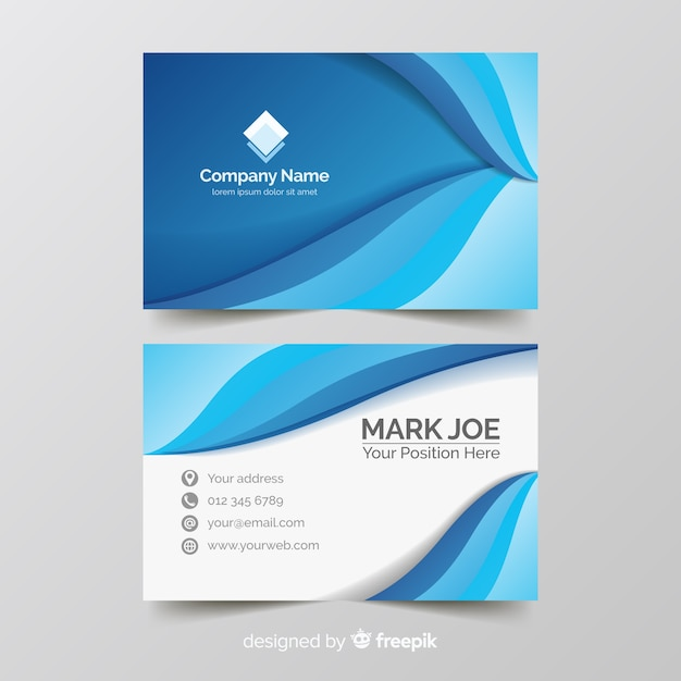 Business card template gradient style Free Vector