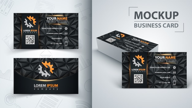 Business card template. idea for your print. Premium Vector
