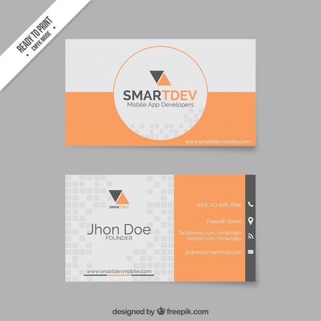 Business card template in orange and grey tones vector premium business card template in orange and grey tones premium vector reheart Image collections