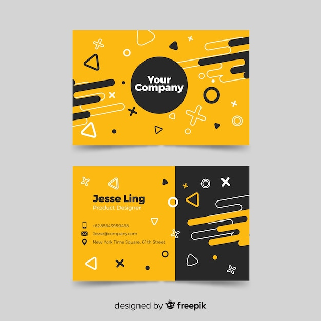 Business card template memphis design Free Vector