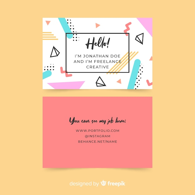 Business card template in memphis style Free Vector