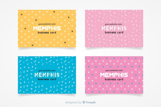 Business card template memphis style Free Vector