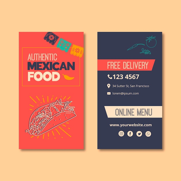 Business card templatefor mexican food restaurant Free Vector