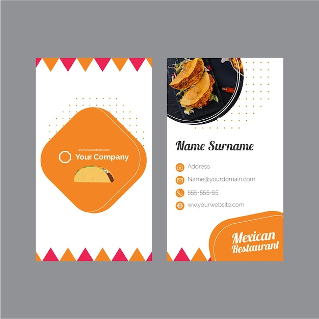 Business card template for mexican restaurant Free Vector
