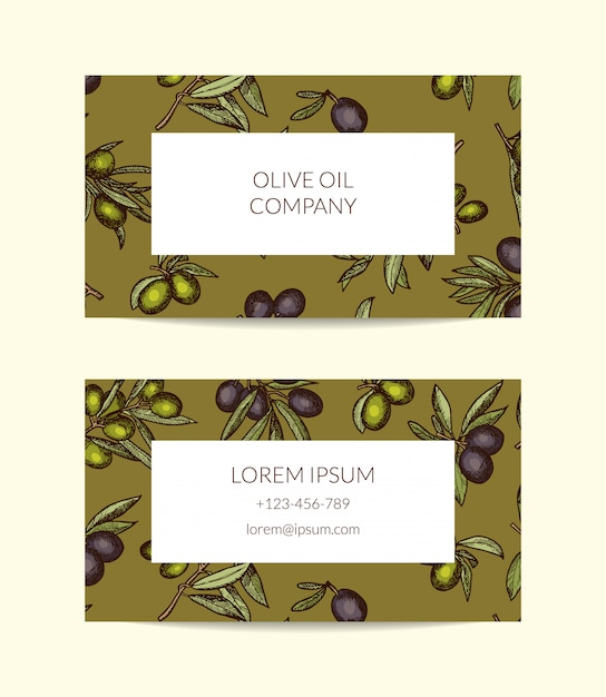Business card template for oil company with hand drawn olive branches Premium Vector