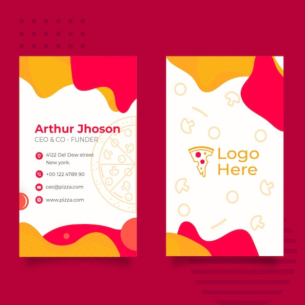 Business card template for pizza restaurant Premium Vector
