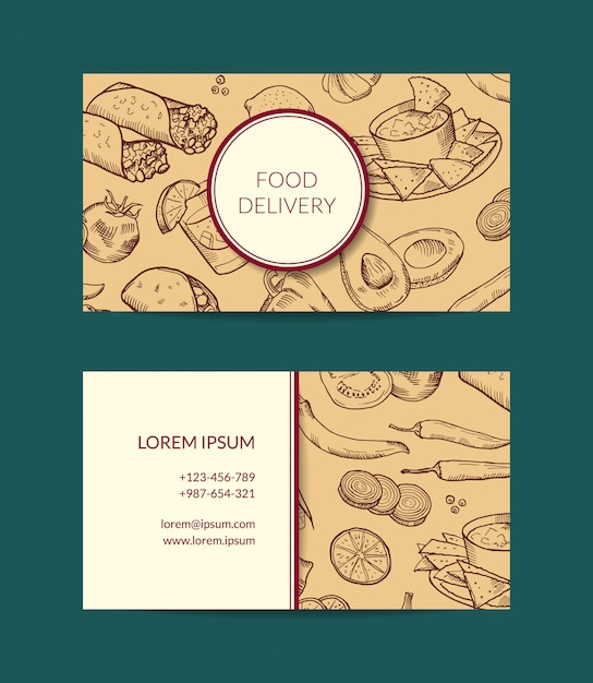 Business card template for restaurant, shop or cafe delivery with sketched mexican food elements Premium Vector