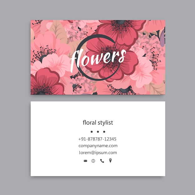 Business card template set with colorful flowers Premium Vector